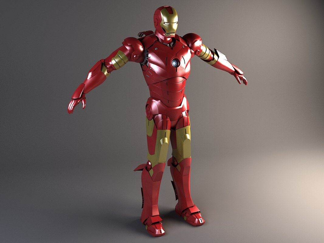 3d iron man rigged