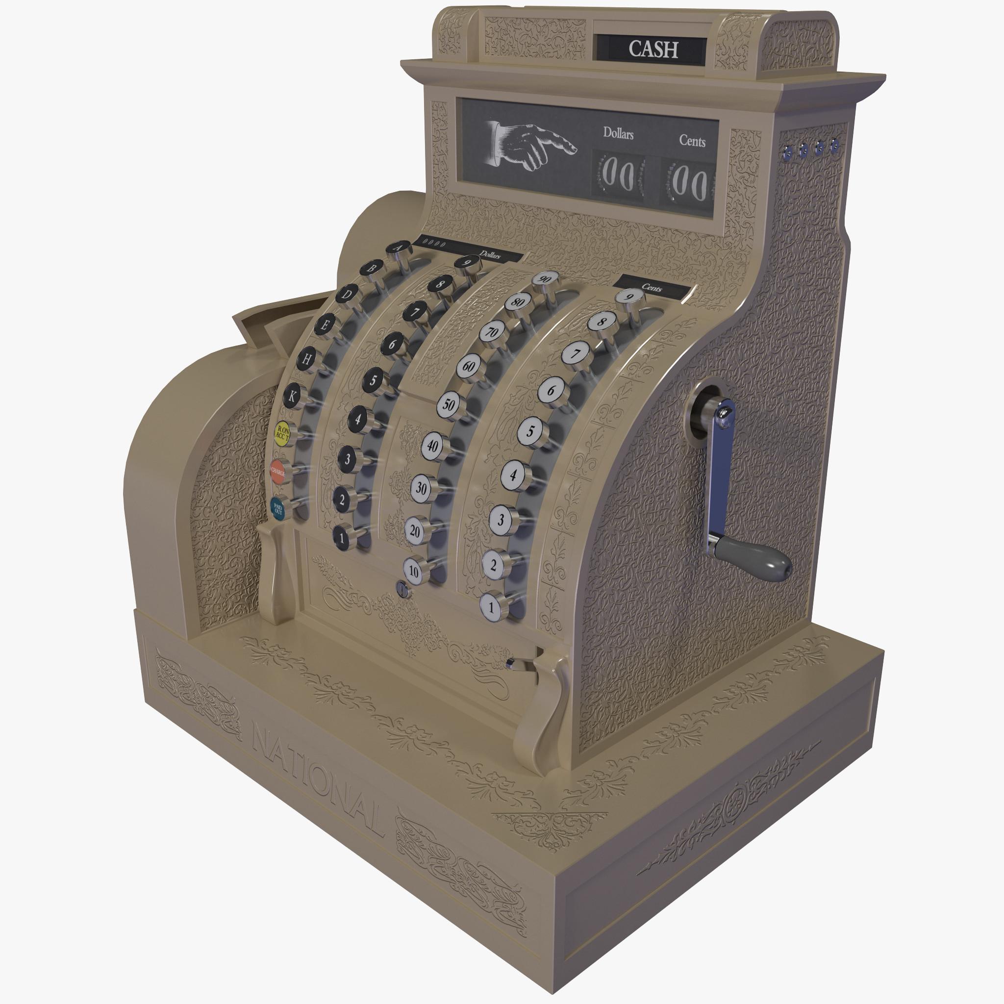 old cash register 2 3d model