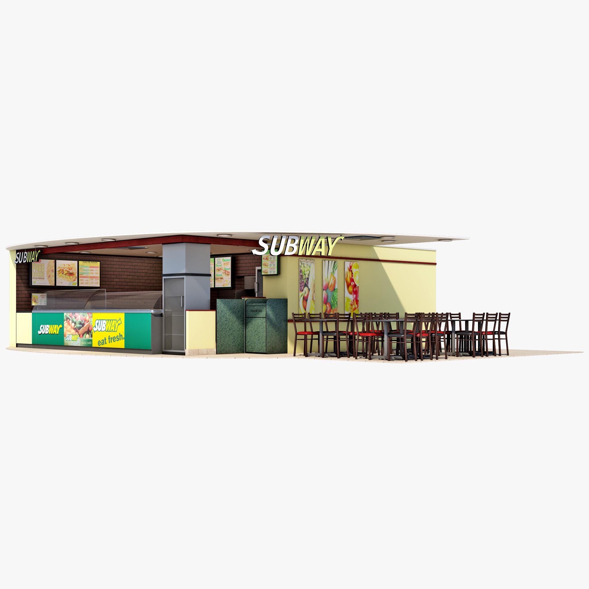 subway restaurant 3d model