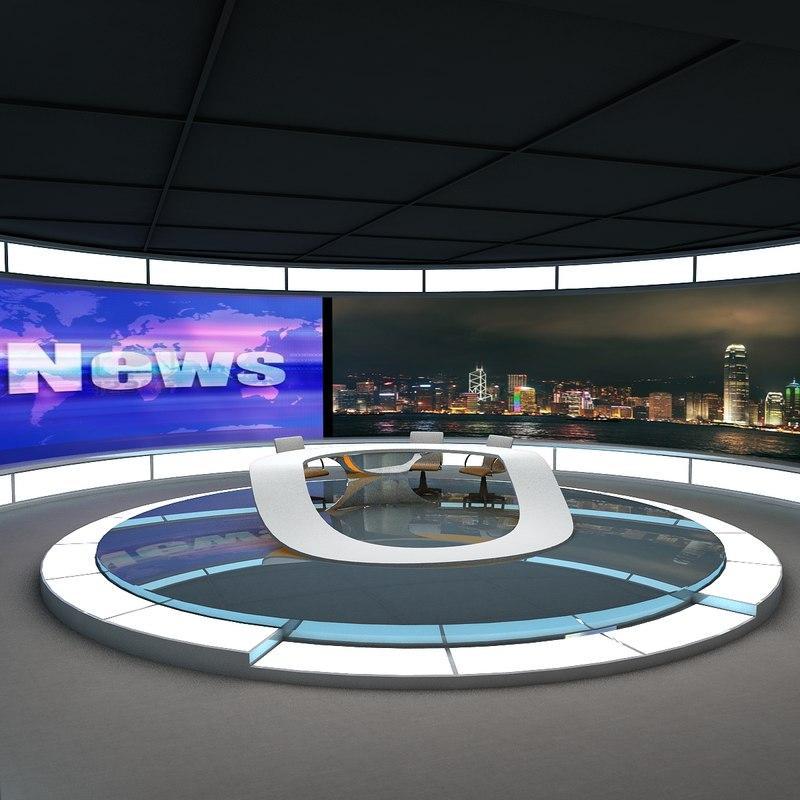 3d tv news studio 2 model