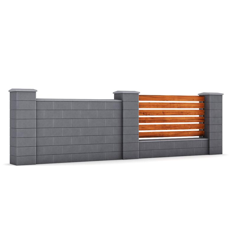 3d concrete fence
