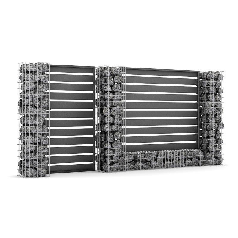 3d model stone gate fence