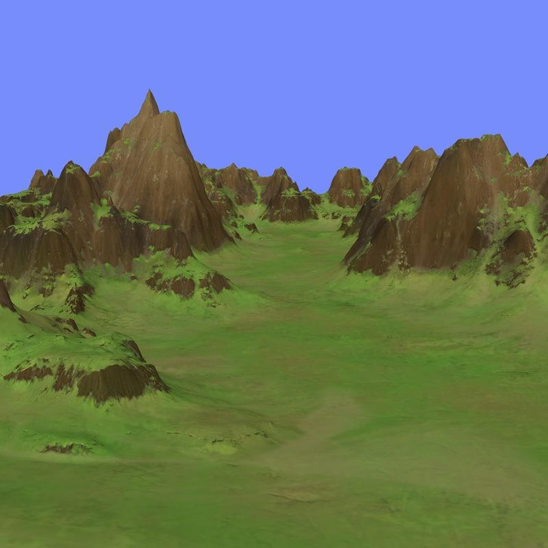 grassy terrain dm-01 3d max