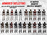 Animated Skeletons Game Ready Low Poly