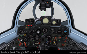 3d sukhoi su-9 cockpit model