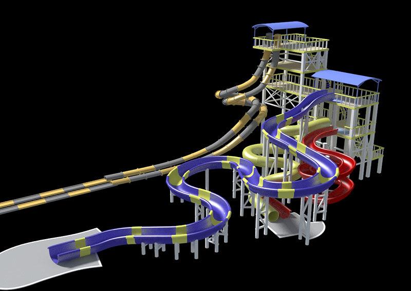 3d pool slide theme park