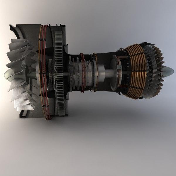 3d model pratt whitney turbofan engine