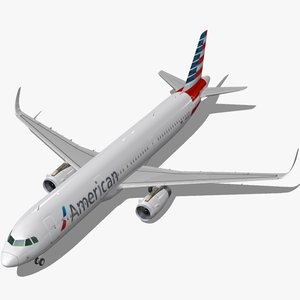 3d model sharkleted airbus a321neo american airlines