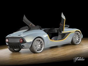 aston martin cc100 rigged car 3d model
