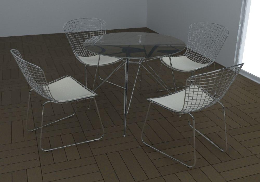 bertoia table set 3d model