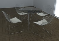 bertoia table set 3d model