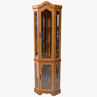 3d corner curio cabinet model