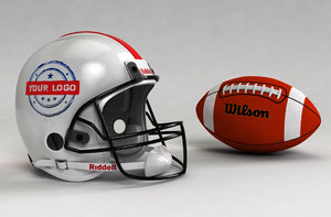 3d football helmet ball