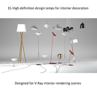 3d model - designer lamps lights