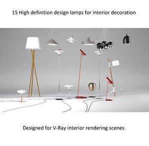 3d model - designer lamps lights