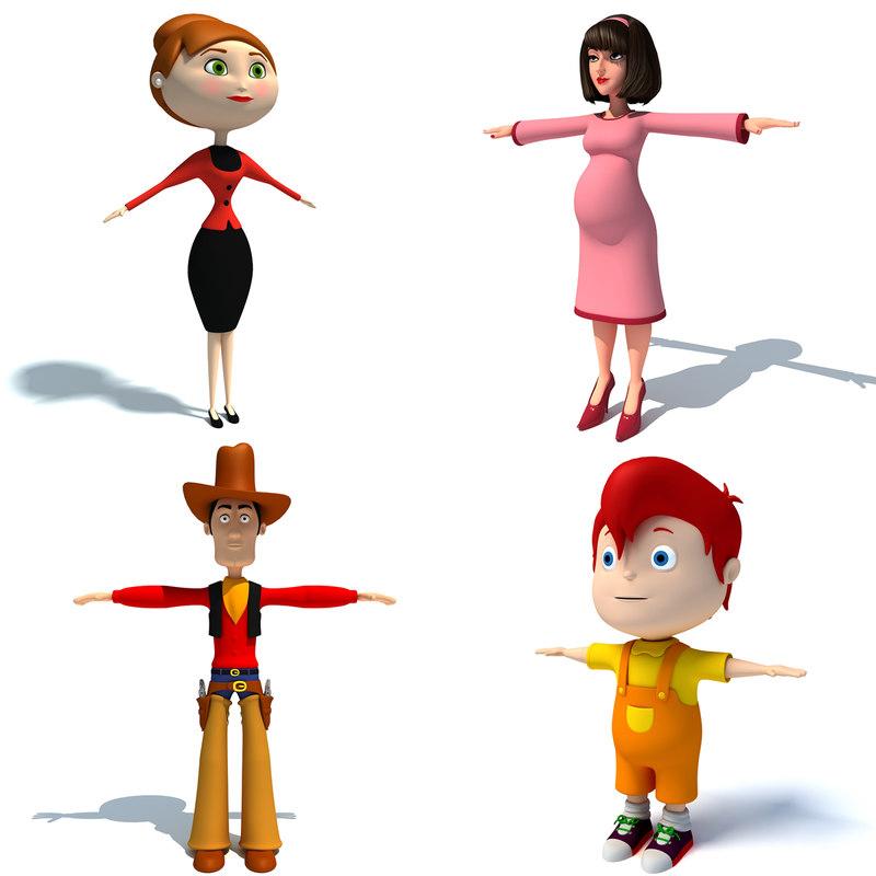 cartoon characters 3d max