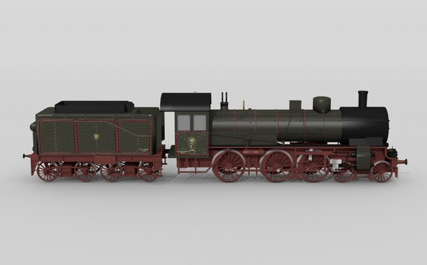 3d german p8 steam locomotive model