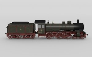 3d german p8 steam locomotive model