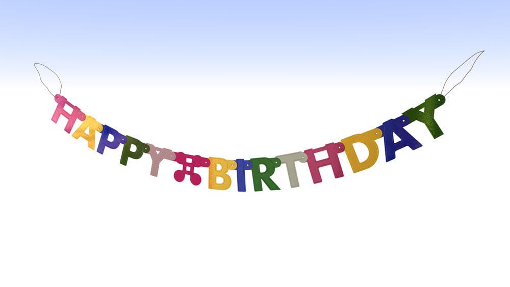 3d model happy birthday banner