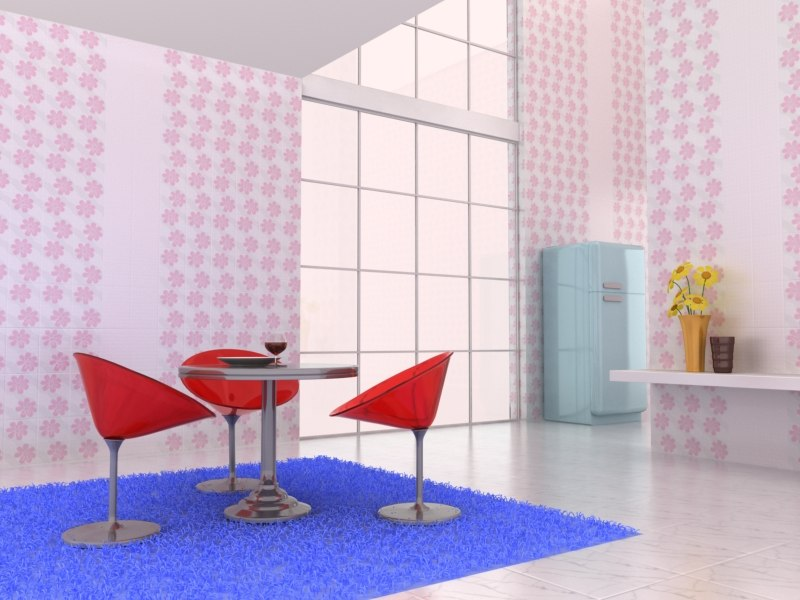 3d breakfast room scene break model