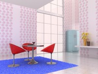 3d breakfast room scene break model
