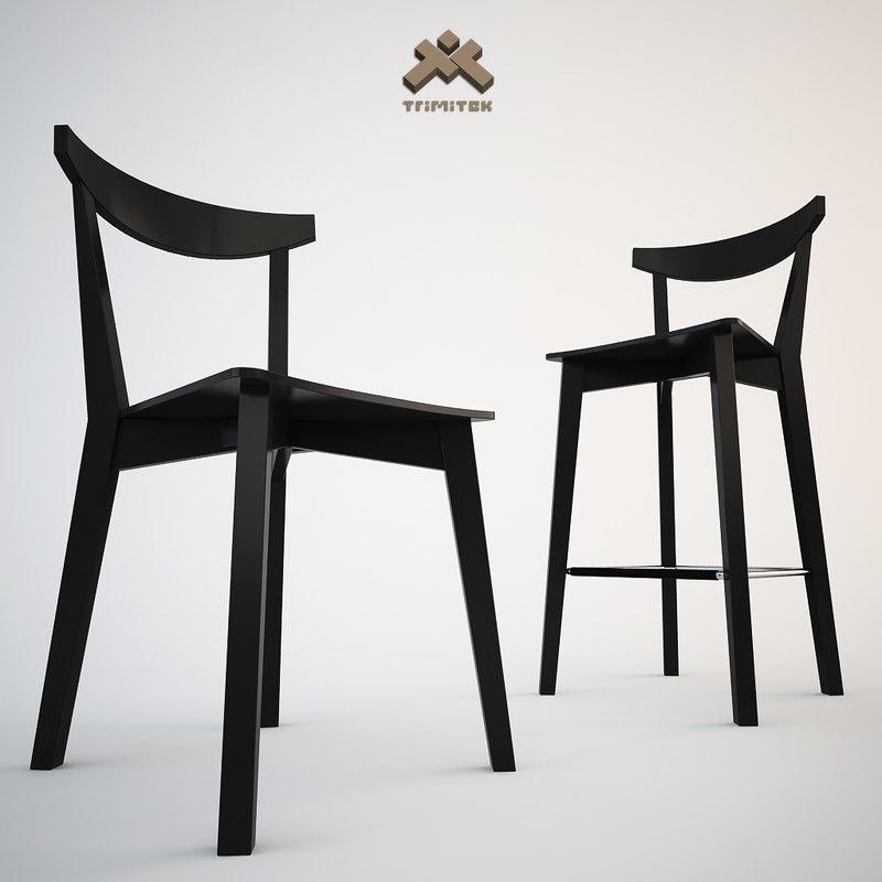 3d modern dining chair barstool model