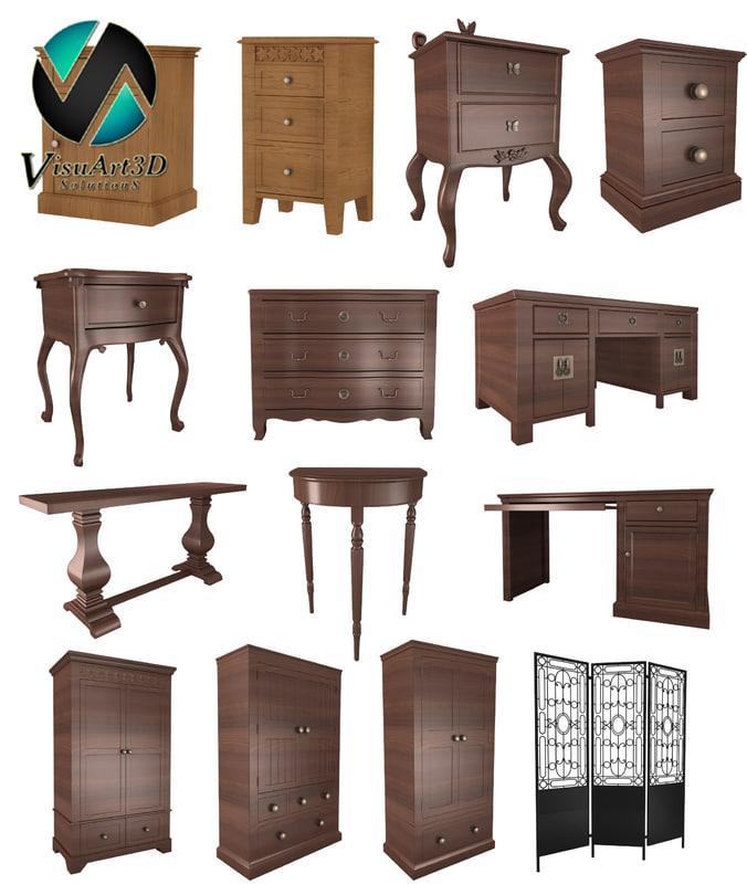 old furniture 3d 3ds