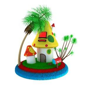 3d model cartoon mushroom