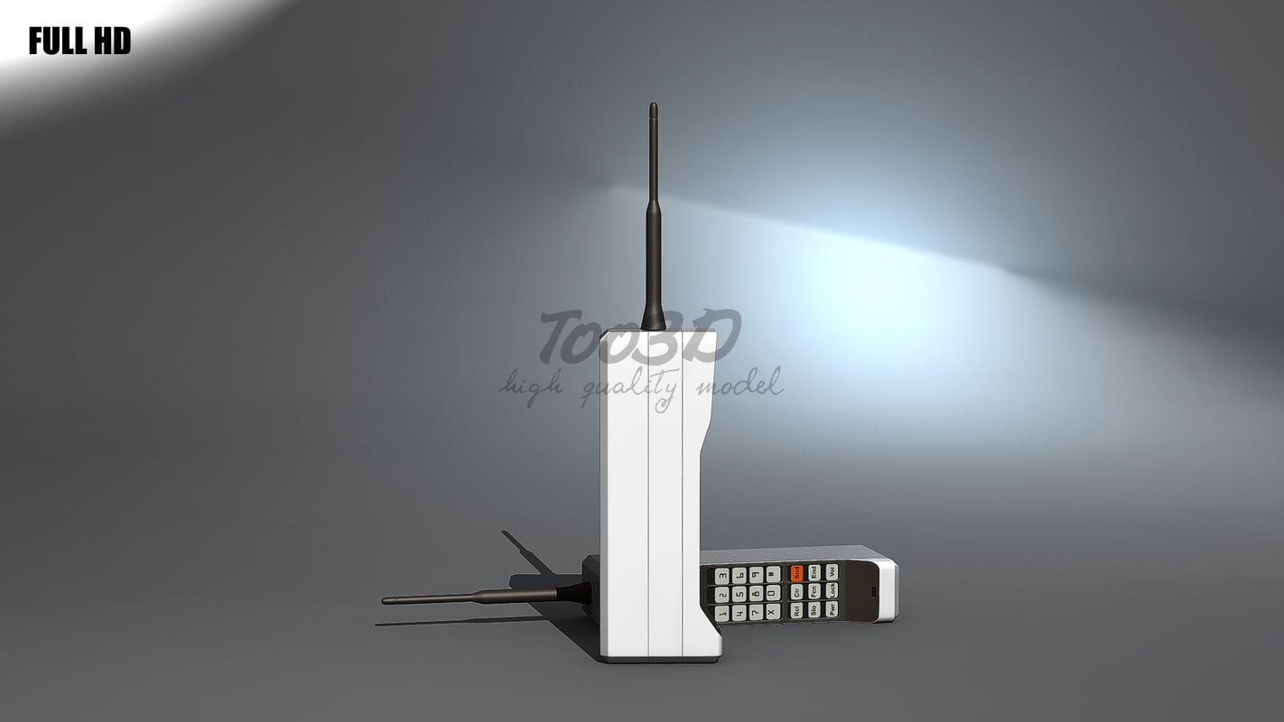 3d model brick old phone