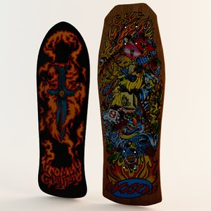 3d model classic skateboards