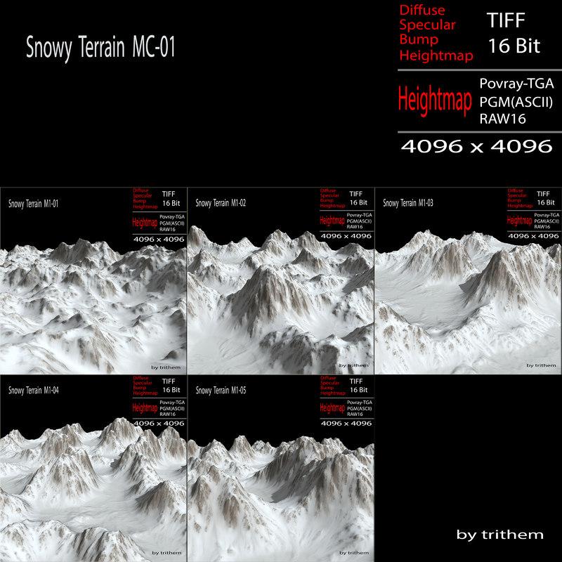 snowy terrain mc-01 3d max