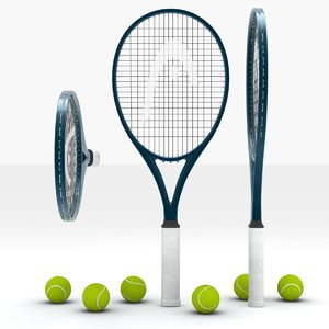 3d model court tennis balls