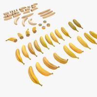 Banana Fruit Piece Cut Half Naked