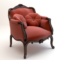 chair baroque armchair 3d model