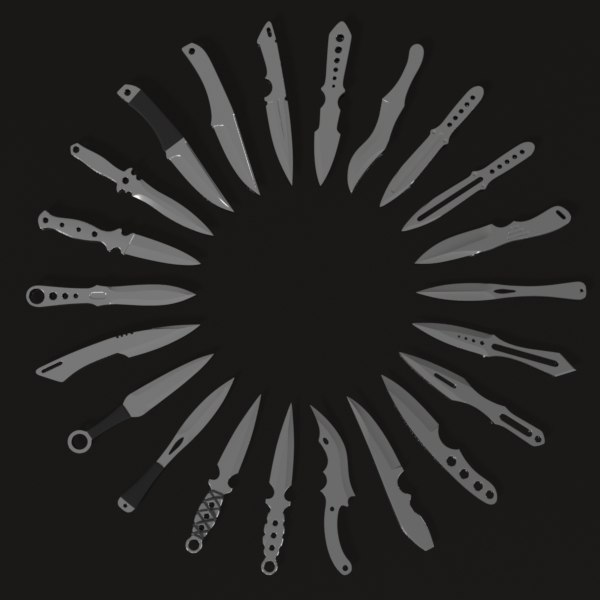 3ds max throwing knife assortment