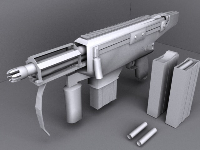 3d model autocannon sub machine