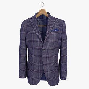 blue male blazer jacket 3d model