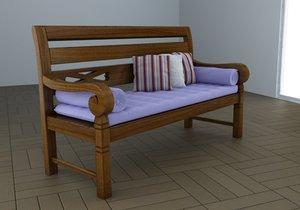 3d model bench lounge