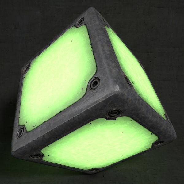 3d model glowing cube