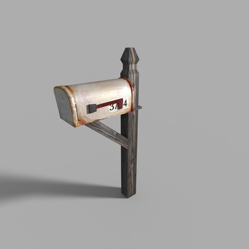 3d rusted mailbox model