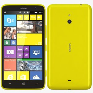 nokia lumia 1320 yellow 3d model