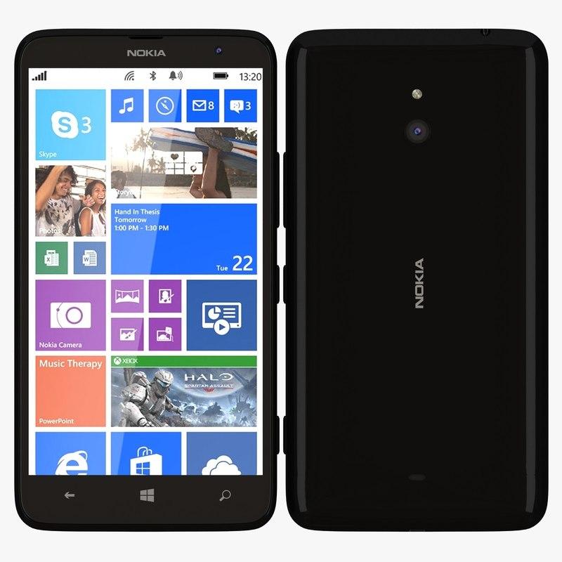 3d nokia lumia 1320 black model