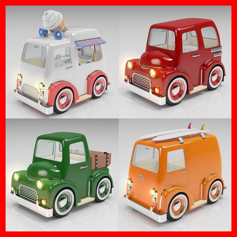 3d cartoon car pack 02 model