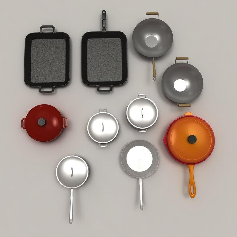 3d set pans pots model