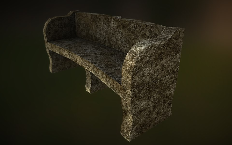 3d stone bench