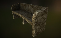 3d stone bench