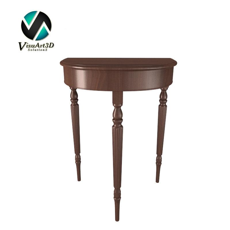 table demilune antique 3d model