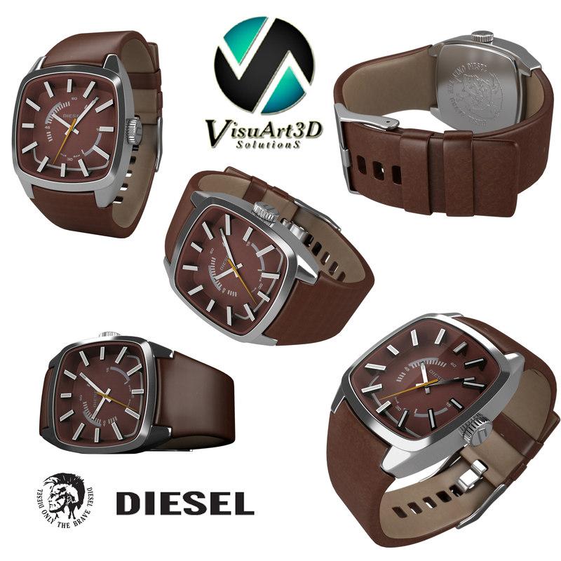 3d model diesel mens watches
