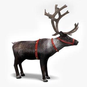 3d model of santa s reindeer