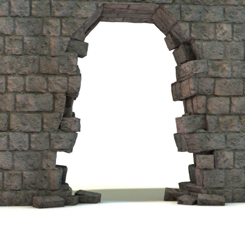 broken wall 3d model